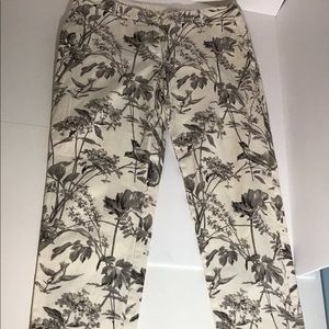 Talbots The Weekender Pants Floral Bird Pattern 6